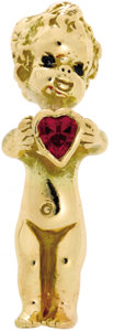 Estate Jewelry:Brooches - Pins, Ruby, Sapphire, Gold Brooch, Ruser. The brooch, designed as achild, features a heart-shaped ruby, accented by round-cut s...