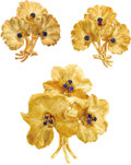 Estate Jewelry:Coin Jewelry and Suites, Sapphire, Gold Jewelry Suite, Tiffany & Co.. The floral themed suite includes: a brooch featuring round-cut sapphires, set...