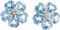 Estate Jewelry:Earrings, Blue Topaz, Diamond, White Gold Earrings. ... (Total: 2 Items)