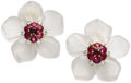 Estate Jewelry:Earrings, Ruby, Diamond, Rock Crystal Quartz, Gold Earrings, Aletto Bros..Each flower earring features full-cut diamonds weighing a...