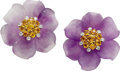 Estate Jewelry:Earrings, Diamond, Yellow Sapphire, Amethyst, Gold Earrings, Aletto Bros..Each flower earring features full-cut diamonds weighing a...