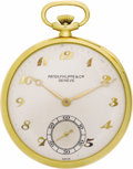 Timepieces:Pocket (post 1900), Patek Philippe Gold Openface Pocket Watch, circa 1960 . Case: 45 mm, hinged 18k yellow gold, reference No. 509485, marked ...