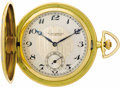 Timepieces:Pocket (post 1900), Girard-Perregaux Enamel, Gold Hunting Case Pocket Watch, circa 1910. Case: 53 mm, hinged 18k yellow gold with applied ena...