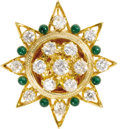 Estate Jewelry:Brooches - Pins, Diamond, Enamel, Gold Pendant-Brooch. The brooch, designed as astarburst, features full-cut diamonds weighing a total of ...