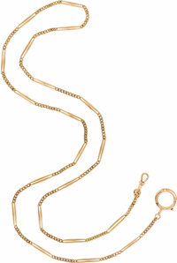 Gentleman's Gold Watch Chain  The 12k pink gold chain is composed of curb links alternating with paperclip style links...