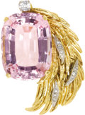 Estate Jewelry:Brooches - Pins, Kunzite, Diamond, Platinum, Gold Brooch. The asymmetric, heavily textured brooch is highlighted by a cushion-shaped kunzit...