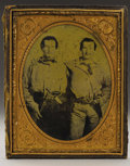 Military & Patriotic:Civil War, Fascinating Half-Plate Daguerreotype of Confederate Colonel James F. Caldwell and his Brother, Lieutenant Robert D. Caldwell, ...
