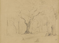 CAMILLE PISSARRO (French 1830-1903) Personnages Assis Dans Une Foret Pencil on paper 8-3/4 x 12 inches, sight (22.2 x