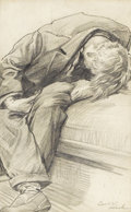 Fine Art - Painting, American:Modern  (1900 1949)  , CARL LINK (American 1887-1968). Untitled, Man Slouched onBench. Graphite on paper. 8-3/4 x 5-1/4 inches (22.2 x 13....