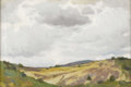 Western:20th Century, JOSEPH HENRY SHARP (American 1859-1953). Clouds over the Sangre de Cristos. Oil on canvas. 11-1/2 x 17-1/2 inches (29.2 ...