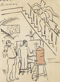 Fine Art - Painting, American:Modern  (1900 1949)  , STUART DAVIS (American 1894-1964). Composers of MusicalComedies, circa 1922. India ink and brush with red ink wash onp...