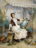 Fine Art - Painting, European:Antique  (Pre 1900), PIERRE OUTIN (French 1840-1899). The Easter Eggs. Oil oncanvas. 25-3/4 x 19-1/2 inches (65.4 x 49.5 cm). Signed lower r...
