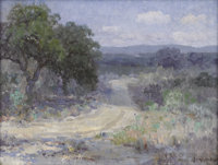 JULIAN ONDERDONK (1882-1922) A Path Through The Texas Hill Country Oil on canvas 12in. x 16in. Signed lower right &l...
