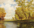 Paintings, ROBERT WOOD (1889-1979). Untitled Landscape with Lake Cabin and Church, late 1930s to early 1940s. Oil on canvas. 25in. x 30...