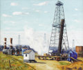 Texas:Early Texas Art - Regionalists, FRED DARGE (1900-1978). Untitled Rotary Drilling Rig, 1930s. Oil oncanvas. 20in. x 24in.. Signed lower right. The rotary ...