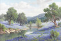 Texas:Early Texas Art - Impressionists, DOLLIE NABINGER (1905-1988). Untitled Bluebonnets and River. Oil oncanvas. 24in. x 36in.. Signed lower right. A particula...