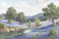 DOLLIE NABINGER (1905-1988) Untitled Bluebonnets and River Oil on canvas 24in. x 36in. Signed lower right  A particula...