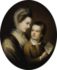 Attributed to THOMAS GAINSBOROUGH, R.A. (English 1727-1788) Portrait O Elizabeth Honywood And Her Son Philip, 1767 Oil...