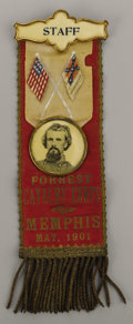 "Military & Patriotic:Civil War, Confederate Surgeon Samuel Houston Caldwell's Very Rare Forrest Cavalry Corps ""Staff"" Reunion Ribbon - May 1901. Caldwell re..."