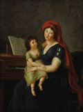 Fine Art - Painting, European:Antique  (Pre 1900), Follower of ELISABETH LOUISE VIGÉE-LEBRUN (French 1755 - 1842).M.L.E. Vigée-LeBrun and Her Daughter. Oil on canvas. 14 ...