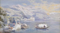 Fine Art - Painting, European:Modern  (1900 1949)  , CHARLES ROWNOTHAM (British 1856-1921). The Castle Of Canero,Lake Maggiore, 1901. Watercolor on paper. 6-1/8 x 10-3/4 in...