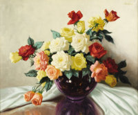 A. D. GREER (1904-1998) Untitled Still Life with Roses Oil on linen 25in. x 30in. Signed upper right  Besides landscap...