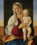 Old Master:Italian, Ascribed to PIER FRANCESCO BISSOLO (Italian 1492-1554). MadonnaAnd Child. Oil on panel. 23-3/4 x 19-3/4 inches (60.3 x ...