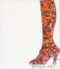 ANDY WARHOL (American 1928-1987) Gee, Merrie Shoes, 1956- Offset lithograph with hand coloring on paper 9 x 8 inches