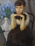 Fine Art - Painting, European:Modern  (1900 1949)  , PHILIPPE HENRI NOYER (French 1917-1985). La Petit Fille DeL'Autobus, 1948. Oil on canvas. 25-3/4 x 20 inches (65.4 x50...