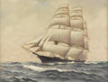Fine Art - Painting, American:Modern  (1900 1949)  , HARRY HARLOW HOWE, also known as WILLIAM FREDERICK PASKELL(American 1866-1951). Clipper Ship. Oil on canvas. 16 X 2...