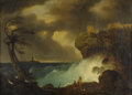 Fine Art - Painting, European:Antique  (Pre 1900), CONTINENTAL SCHOOL (Nineteenth Century). The Shipwreck. Oilon canvas. 22-1/2 x 31 inches (57.1 x 78.7 cm). Initialed l...