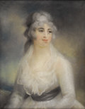 Fine Art - Painting, European:Antique  (Pre 1900), Manner of RICHARD COSWAY (British 1742-1821). Portrait Of A Young Woman. Pastel on paper mounted on canvas. 30 x 25 inch...