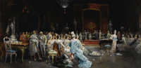 EUGENIO LUCAS Y VILLAMIL (Spanish 1858-1918) The Audience Before The King Ferdinand Of Spain And His Queen (ruled 1814-1...