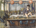 Fine Art - Painting, American:Contemporary   (1950 to present)  , PHILIP REISMAN (American 1904-1992). The Bar Maid.Watercolor on paper. 17-1/2 x 22 inches (44.4 x 55.9 cm). Signedlowe...