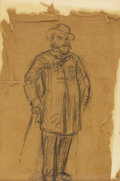 Fine Art - Painting, American:Antique  (Pre 1900), WILLIAM GLACKENS (American 1870-1938). Standing Gentleman.Charcoal on brown paper. 9 x 6 inches, approximately (22.9 x ...