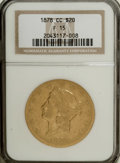 1878-CC $20 Fine 15 NGC. Variety 1-A. The design features are moderately worn, with more substantial details remaining o...
