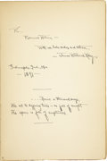 Autographs:Authors, James Whitcomb Riley Signed Copy of The Flying Islands of the Night;...
