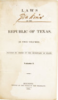 Books, Laws of the Republic of Texas, In Two Volumes.... (Total: 2Items)