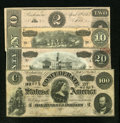 Confederate Notes:1863 Issues, Four Confederate Notes.. ... (Total: 4 notes)