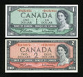 Canadian Currency: , $1 and $2 Modified Portrait Asterisk Notes.. ... (Total: 2 notes)
