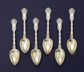 Silver Flatware, American:Whiting, A SET OF SIX AMERICAN SILVER AND SILVER GILT GRAPEFRUIT SPOONS.Whiting Manufacturing Company, North Attleboro. Massachusett...(Total: 6 Items)