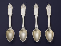 A SET OF FOUR AMERICAN COIN SILVER AND SILVER GILT TEA SPOONS William Gale & Son, New York, New York, 1850 Mark