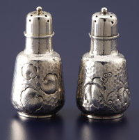 A PAIR OF AMERICAN SILVER PEPPER SHAKERS Dominick & Haff, New York, New York, 1882 Marks: (oval with 925