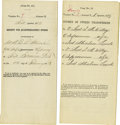 Western Expansion:Cowboy, Lot of Two Documents regarding Fort Abraham Lincoln, DakotaTerritory, 1873. ... (Total: 2 Items)