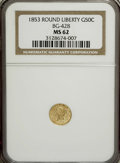 California Fractional Gold: , 1853 50C Liberty Round 50 Cents, BG-428, R.3, MS62 NGC. NGC Census:(11/5). PCGS Population (75/33). (#10464)...
