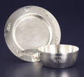 Silver Holloware, American:Bowls, AN AMERICAN SILVER PORRINGER AND UNDER PLATE. Wallace & SonsMfg. Co., Wallingford, Connecticut, circa 1955. Marks: RW(...