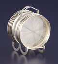 Silver Holloware, American:Coasters, AN AMERICAN SILVER AND GLASS COASTER SET WITH STAND. FisherSilversmiths Inc., Jersey City, New Jersey, circa 1950. Marks: ...(Total: 9 Items)