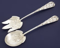 Silver Flatware, American:Gorham, AN AMERICAN SILVER AND SILVER GILT SALAD SERVING SET. GorhamManufacturing Co., Providence, Rhode Island, circa 1870. Marks:...(Total: 2 Items)