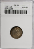 Bust Dimes, 1837 10C Cap Bust AU58 ANACS. NGC Census: (12/82). PCGS Population(10/51). Mintage: 359,500. Numismedia Wsl. Price for NGC/...