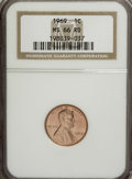 Lincoln Cents: , 1969 1C MS66 Red NGC. NGC Census: (175/12). PCGS Population(119/4). (#2914)...